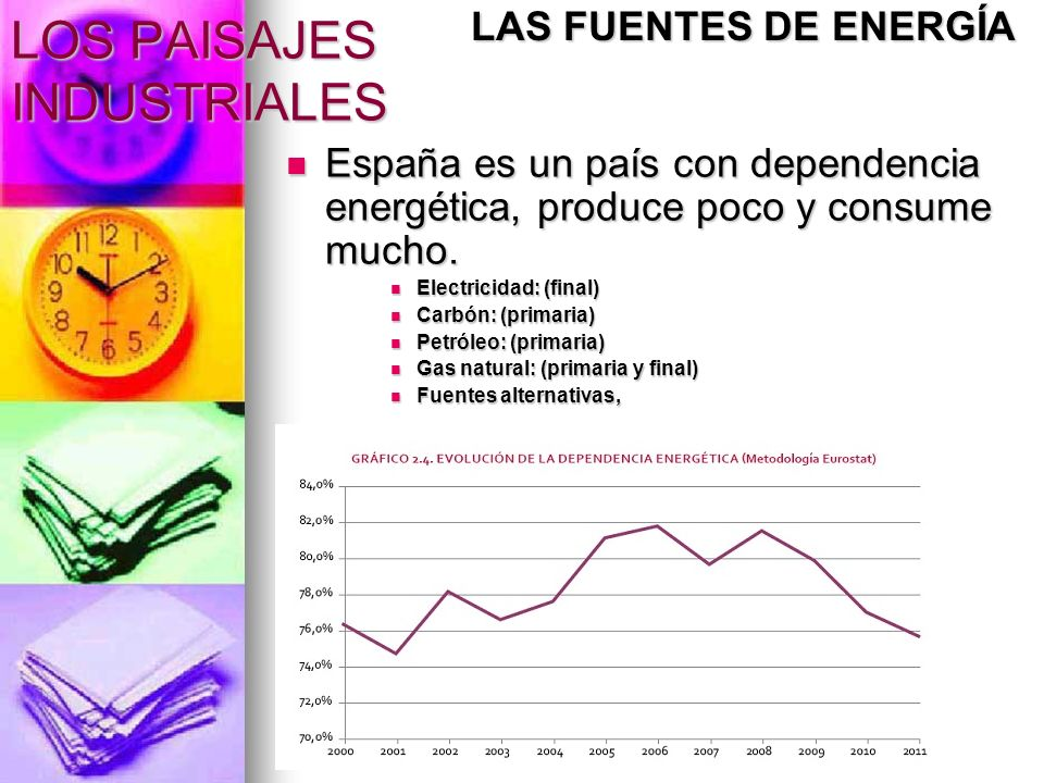 LOS PAISAJES INDUSTRIALES España es un país con dependencia energética, produce poco y consume mucho. España es un país con dependencia energética, pr