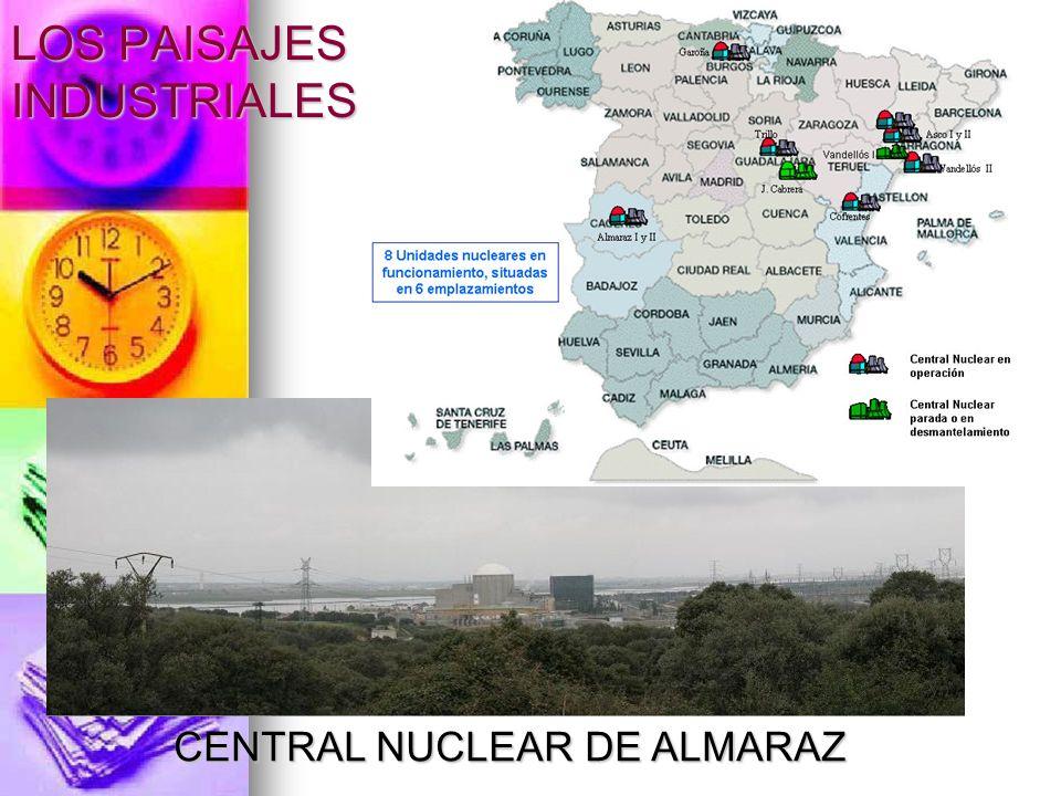 LOS PAISAJES INDUSTRIALES Relación de centrales nucleares en España Central Emplazami ento Propietarios Potencia eléctrica (MW) TipoAño Sta.María Garoña Sta.