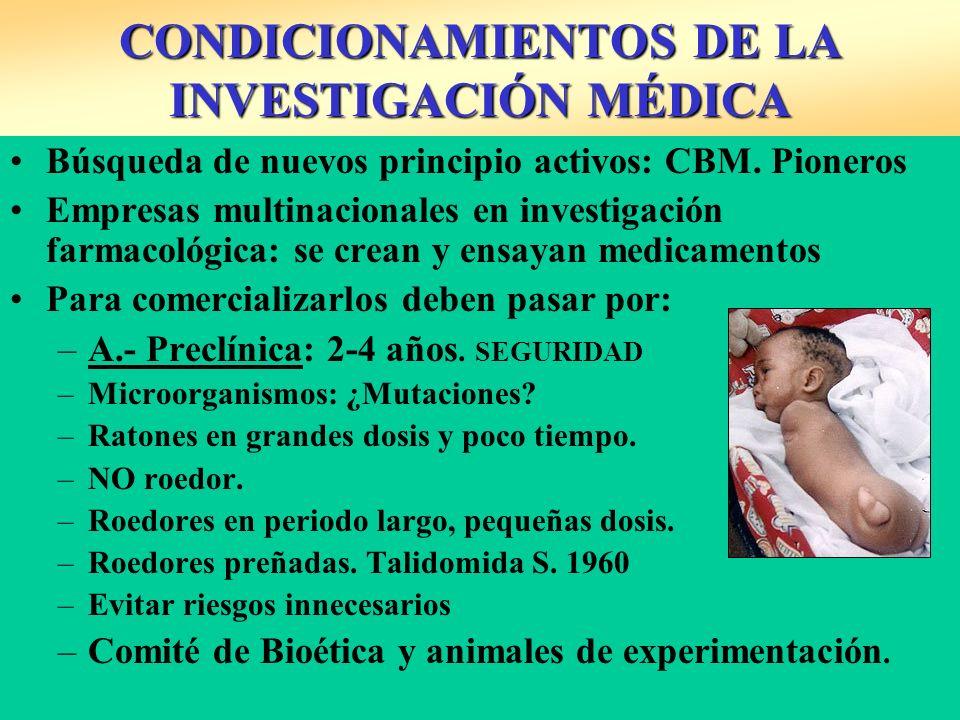 CONDICIONAMIENTOS DE LA INVESTIGACIÓN MÉDICA Búsqueda de nuevos principio activos: CBM. Pioneros Empresas multinacionales en investigación farmacológi