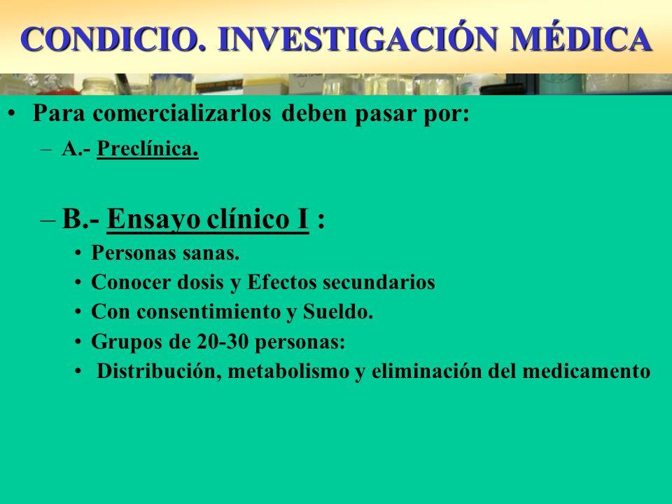 CONDICIO. INVESTIGACIÓN MÉDICA Para comercializarlos deben pasar por: –A.- Preclínica. –B.- Ensayo clínico I : Personas sanas. Conocer dosis y Efectos