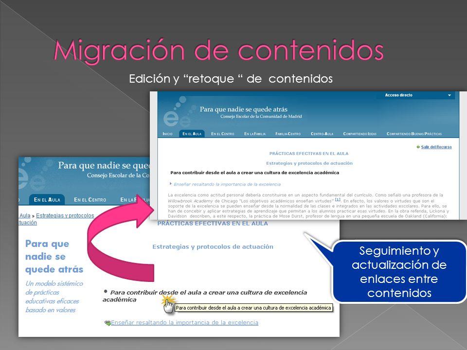 Seguimiento y actualización de enlaces entre contenidos Edición y retoque de contenidos