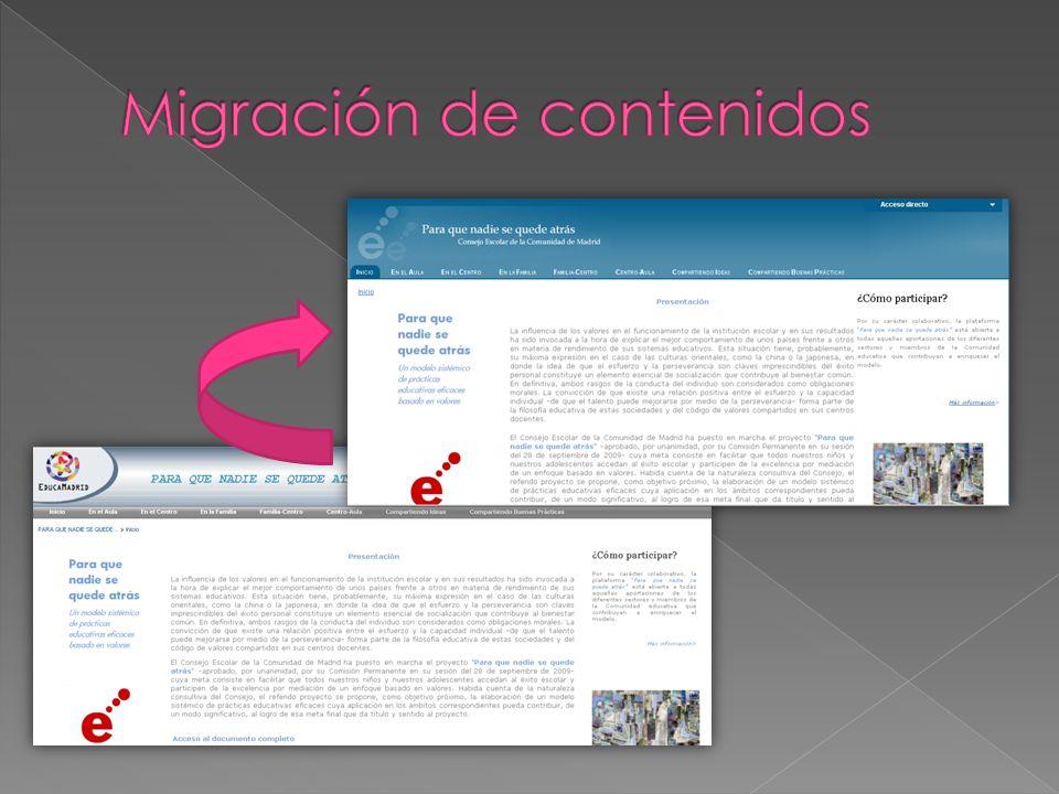 Contenidos de la versión 4 disponibles en el administrador de la versión 5