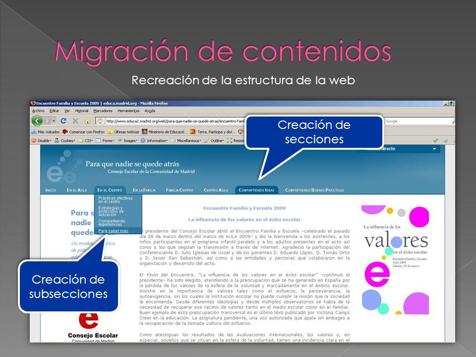 Creación de subsecciones Creación de secciones Recreación de la estructura de la web