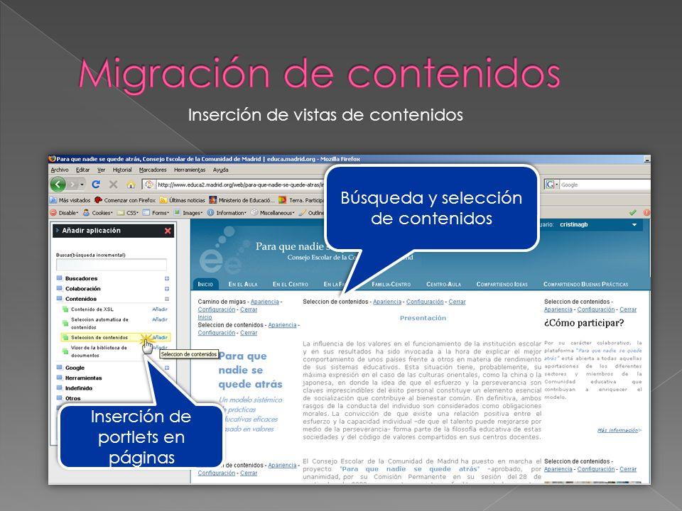 Búsqueda y selección de contenidos Inserción de portlets en páginas Inserción de vistas de contenidos