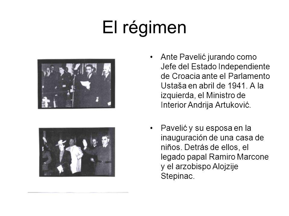 El régimen Ante Pavelić jurando como Jefe del Estado Independiente de Croacia ante el Parlamento Ustaša en abril de 1941.