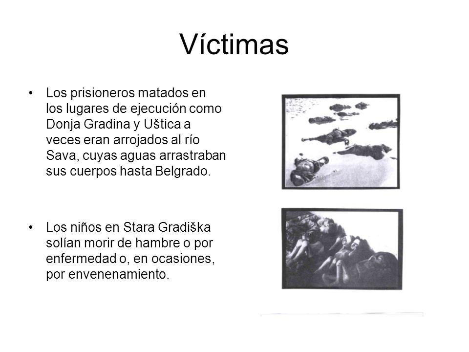 Víctimas Los prisioneros matados en los lugares de ejecución como Donja Gradina y Uštica a veces eran arrojados al río Sava, cuyas aguas arrastraban sus cuerpos hasta Belgrado.