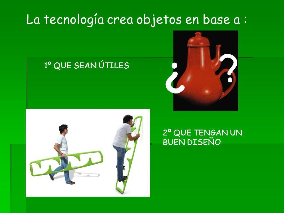 La tecnología crea objetos en base a : 1º QUE SEAN ÚTILES ¿ ? 2º QUE TENGAN UN BUEN DISEÑO