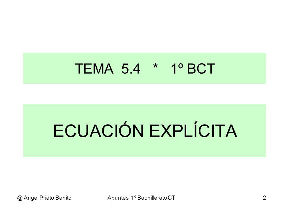 @ Angel Prieto BenitoApuntes 1º Bachillerato CT3 Partimos de la ecuación continua de la recta: x - x o y - y o -------- = -------- y despejamos y - y o a b b.
