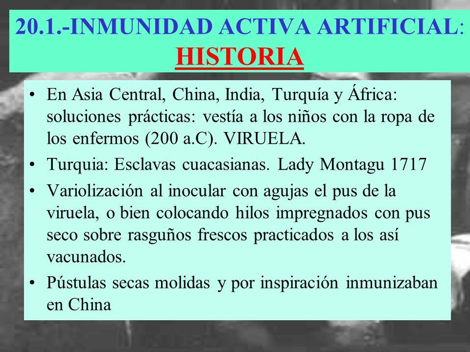 INMUNIDAD ACTIVA ARTIFICIAL: HISTORIA Jenner y su descubrimiento con las pústulas de un tipo de viruela que padecían las vacas.