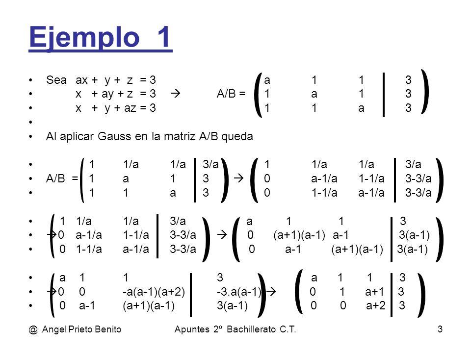@ Angel Prieto BenitoApuntes 2º Bachillerato C.T.3 Ejemplo_1 Seaax + y + z = 3a113 x + ay + z = 3 A/B =1a13 x + y + az = 311a3 Al aplicar Gauss en la matriz A/B queda 11/a1/a 3/a11/a1/a3/a A/B = 1a1 3 0a-1/a1-1/a3-3/a 11a 301-1/aa-1/a3-3/a 11/a1/a3/a a 1 1 3 0a-1/a1-1/a3-3/a 0 (a+1)(a-1) a-1 3(a-1) 01-1/aa-1/a3-3/a 0 a-1 (a+1)(a-1) 3(a-1) a 113a 1 1 3 0 0-a(a-1)(a+2)-3.a(a-1) 0 1 a+1 3 0 a-1(a+1)(a-1)3(a-1) 0 0 a+2 3