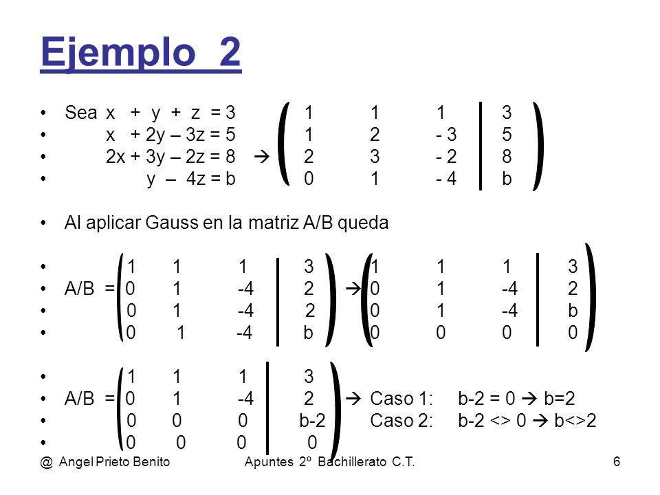 @ Angel Prieto BenitoApuntes 2º Bachillerato C.T.6 Ejemplo_2 Seax + y + z = 31113 x + 2y – 3z = 512- 35 2x + 3y – 2z = 8 23- 28 y – 4z = b01- 4b Al aplicar Gauss en la matriz A/B queda 11131113 A/B = 01-42 01-42 01-4 201-4b 0 1 -4 b0000 1113 A/B = 01-42 Caso 1: b-2 = 0 b=2 000 b-2Caso 2: b-2 <> 0 b<>2 0 0 0 0