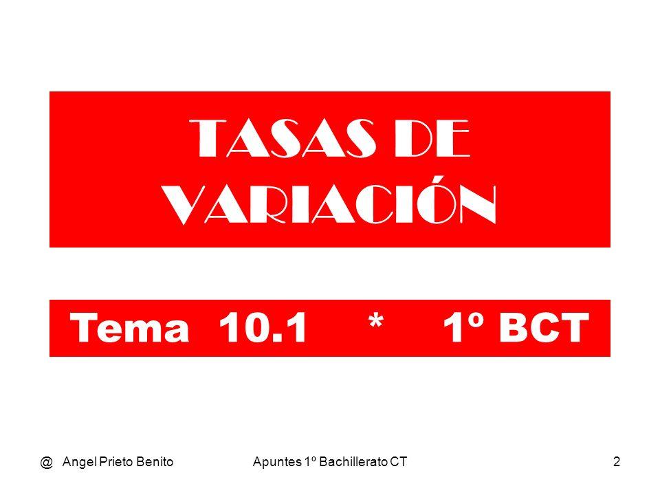 @ Angel Prieto BenitoApuntes 1º Bachillerato CT3 TASA DE VARIACIÓN MEDIA Dada una función f definida en un intervalo [a,b], se llama TASA DE VARIACIÓN MEDIA de la función f en [ a,b ] al cociente: f (b) - f(a) TVM = ----------------- b - a Como se observa en el valor de la TVM no influye el comportamiento de la función a lo largo del intervalo.