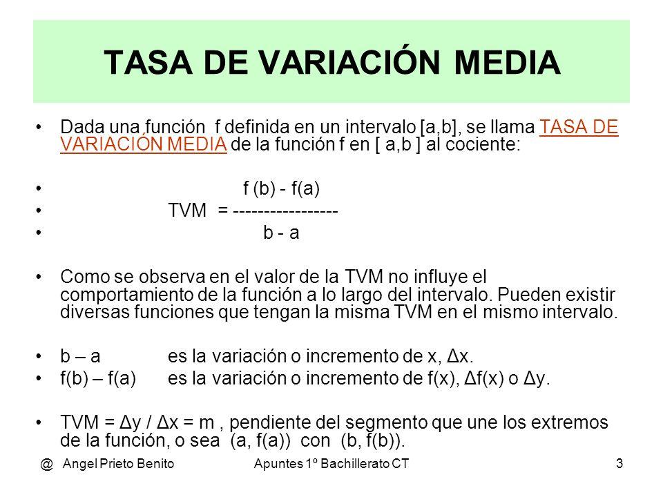 @ Angel Prieto BenitoApuntes 1º Bachillerato CT4 Incremento de una función (1) Sea la función f(x) = x Verde Sea la función g(x) = x 2 Rojo Ambas funciones presentan el mismo incremento de la función: Δy = f(4) – f(0) = 4 Δy = g(2) – g(0) = 2 2 – 0 = 4 Sin embargo g(x) ha crecido mucho más deprisa que f(x), su crecimiento medio es mayor: TVM de f(x): TVM = Δy / Δx = 4 / 4 = 1 TVM de g(x): TVM = Δy / Δx = 4 / 2 = 2 Su crecimiento medio es el doble.