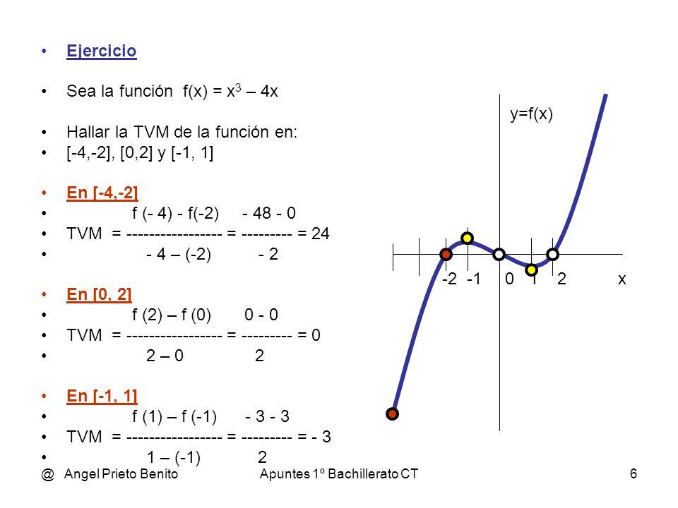 @ Angel Prieto BenitoApuntes 1º Bachillerato CT7 TASA DE VARIACIÓN INSTANTÁNEA Dada una función f definida en un entorno del punto a, se llama: Tasa de variación INSTANTÁNEA de la función f en x = a al límite de las tasas de variación media cuando los intervalos considerados son cada vez más pequeños: f (a + h) – f (a) TVI = lím ------------------------- h 0 h h es el incremento de la variable x a=0 4 x y2y2 f(x) = x / 2 g(x) = x 2 / 8 h(x) = x