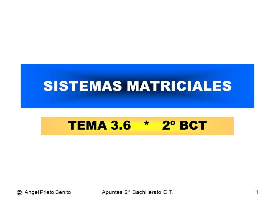 @ Angel Prieto BenitoApuntes 2º Bachillerato C.T.2 ECUACIONES Y SISTEMAS ECUACIONES Y SISTEMAS MATRICIALES Son ecuaciones o sistemas de ecuaciones en las cuales las incógnitas o coeficientes son matrices.