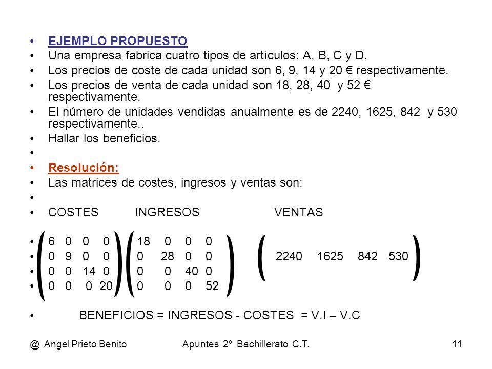 @ Angel Prieto BenitoApuntes 2º Bachillerato C.T.11 EJEMPLO PROPUESTO Una empresa fabrica cuatro tipos de artículos: A, B, C y D. Los precios de coste