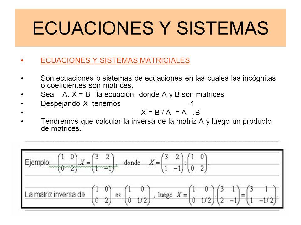 @ Angel Prieto BenitoApuntes 2º Bachillerato C.T.2 ECUACIONES Y SISTEMAS ECUACIONES Y SISTEMAS MATRICIALES Son ecuaciones o sistemas de ecuaciones en