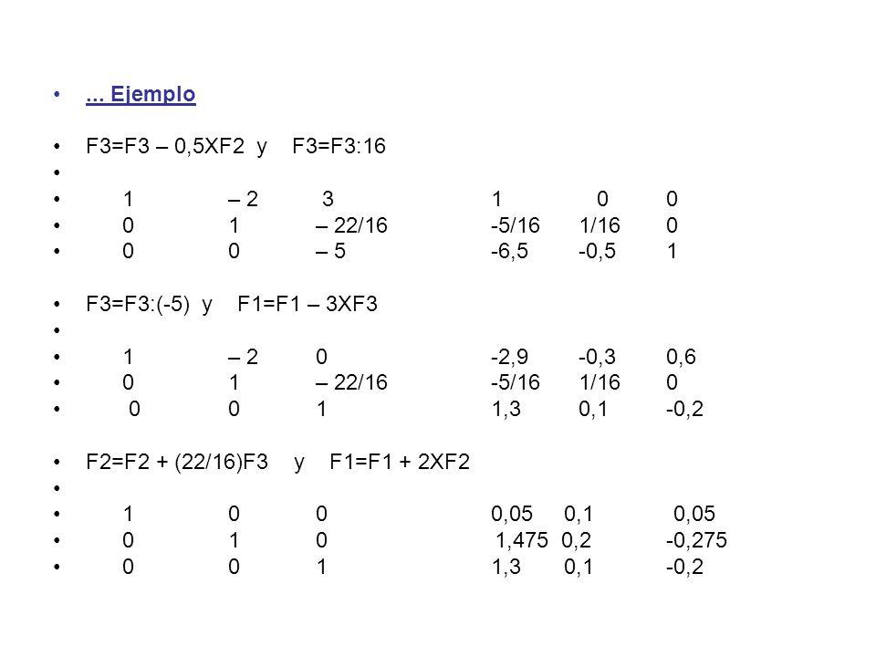 @ Angel Prieto BenitoApuntes 2º Bachillerato C.T.5... Ejemplo F3=F3 – 0,5XF2 y F3=F3:16 1 – 2 31 00 0 1– 22/16-5/16 1/160 00– 5-6,5-0,51 F3=F3:(-5) y