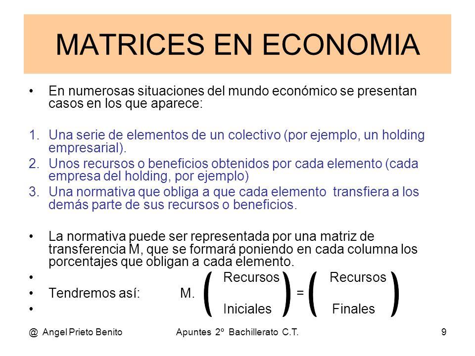 @ Angel Prieto BenitoApuntes 2º Bachillerato C.T.9 MATRICES EN ECONOMIA En numerosas situaciones del mundo económico se presentan casos en los que apa