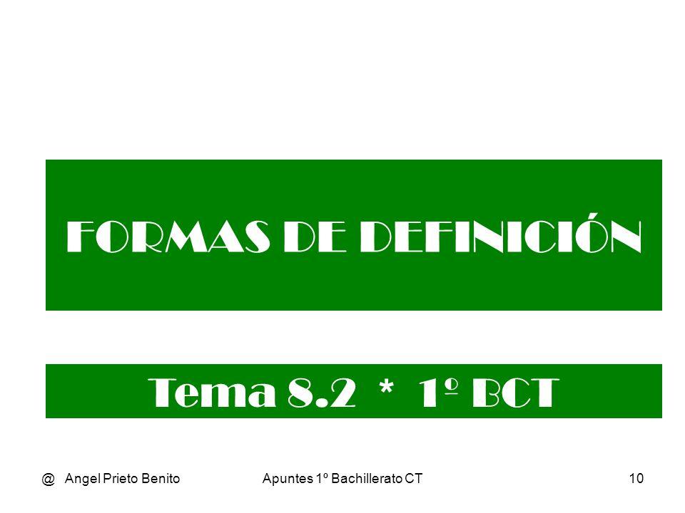 @ Angel Prieto BenitoApuntes 1º Bachillerato CT10 FORMAS DE DEFINICIÓN Tema 8.2 * 1º BCT