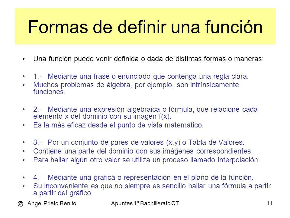 @ Angel Prieto BenitoApuntes 1º Bachillerato CT11 Una función puede venir definida o dada de distintas formas o maneras: 1.- Mediante una frase o enunciado que contenga una regla clara.