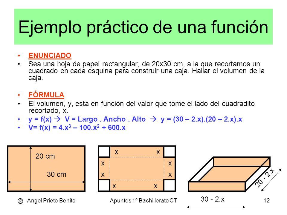@ Angel Prieto BenitoApuntes 1º Bachillerato CT12 Ejemplo práctico de una función ENUNCIADO Sea una hoja de papel rectangular, de 20x30 cm, a la que recortamos un cuadrado en cada esquina para construir una caja.