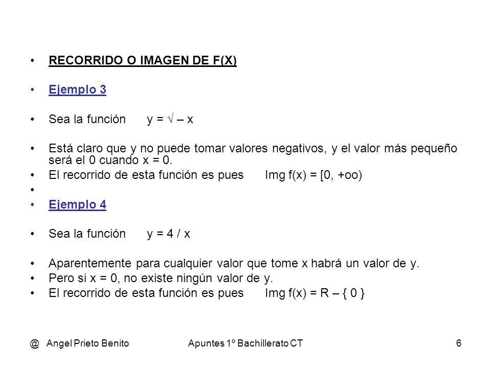@ Angel Prieto BenitoApuntes 1º Bachillerato CT6 RECORRIDO O IMAGEN DE F(X) Ejemplo 3 Sea la función y = – x Está claro que y no puede tomar valores negativos, y el valor más pequeño será el 0 cuando x = 0.