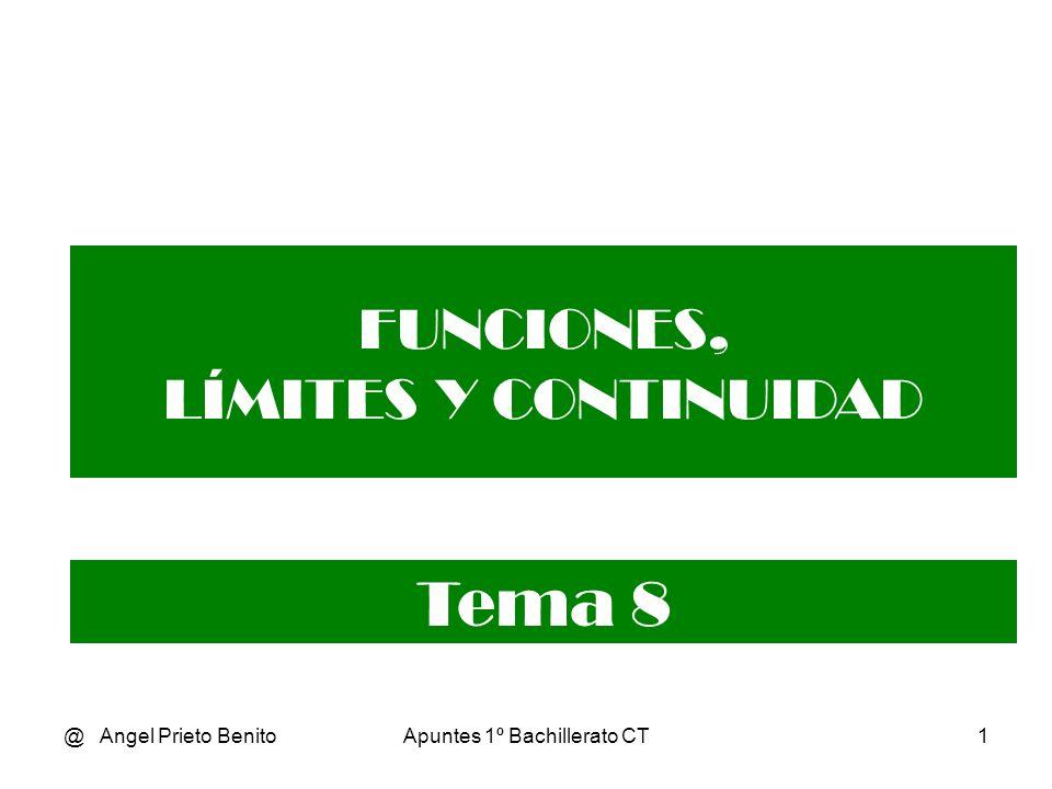 @ Angel Prieto BenitoApuntes 1º Bachillerato CT1 FUNCIONES, LÍMITES Y CONTINUIDAD Tema 8