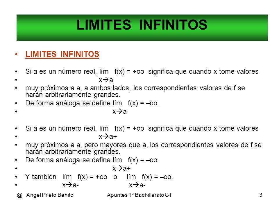 @ Angel Prieto BenitoApuntes 1º Bachillerato CT3 LIMITES INFINITOS Si a es un número real, lím f(x) = +oo significa que cuando x tome valores x a muy