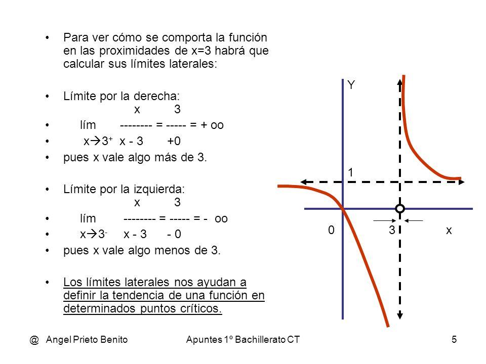 @ Angel Prieto BenitoApuntes 1º Bachillerato CT5 Para ver cómo se comporta la función en las proximidades de x=3 habrá que calcular sus límites latera