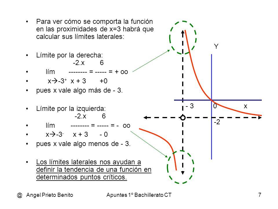 @ Angel Prieto BenitoApuntes 1º Bachillerato CT7 Para ver cómo se comporta la función en las proximidades de x=3 habrá que calcular sus límites latera