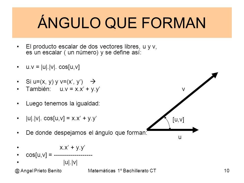 @ Angel Prieto BenitoMatemáticas 1º Bachillerato CT10 ÁNGULO QUE FORMAN El producto escalar de dos vectores libres, u y v, es un escalar ( un número)