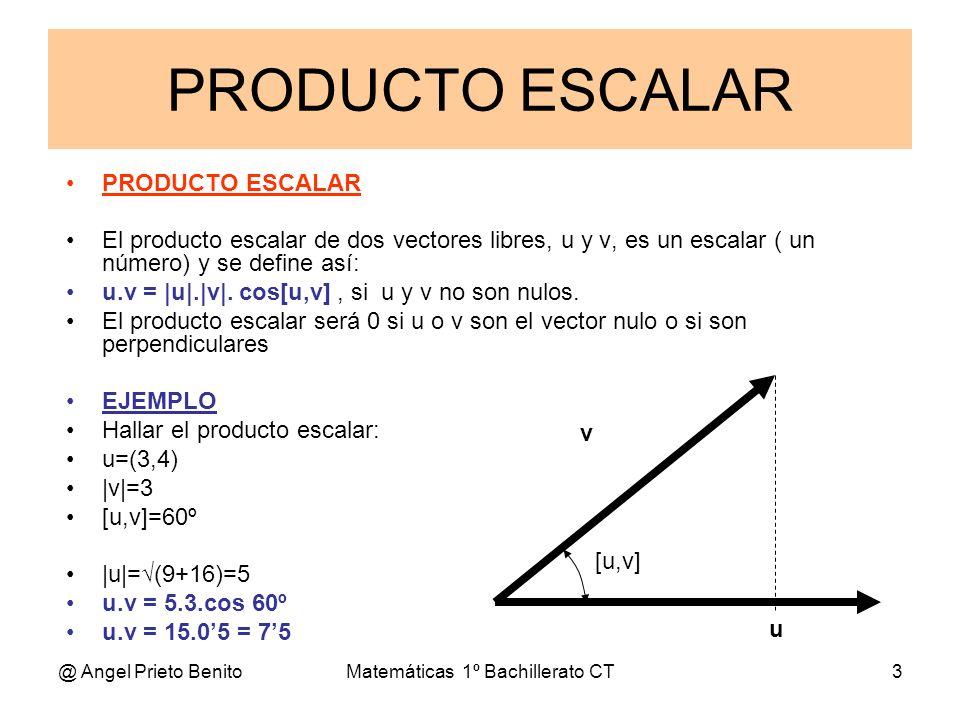 @ Angel Prieto BenitoMatemáticas 1º Bachillerato CT3 PRODUCTO ESCALAR PRODUCTO ESCALAR El producto escalar de dos vectores libres, u y v, es un escala