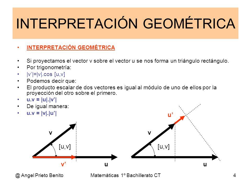 @ Angel Prieto BenitoMatemáticas 1º Bachillerato CT4 INTERPRETACIÓN GEOMÉTRICA INTERPRETACIÓN GEOMÉTRICA Si proyectamos el vector v sobre el vector u