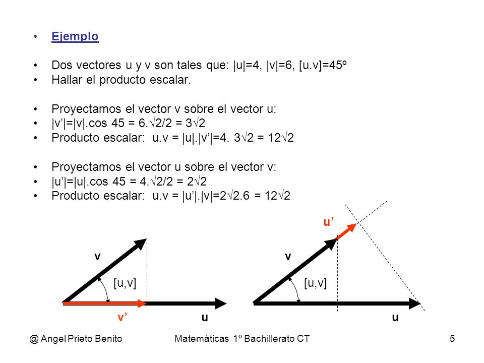 @ Angel Prieto BenitoMatemáticas 1º Bachillerato CT5 Ejemplo Dos vectores u y v son tales que: |u|=4, |v|=6, [u.v]=45º Hallar el producto escalar. Pro