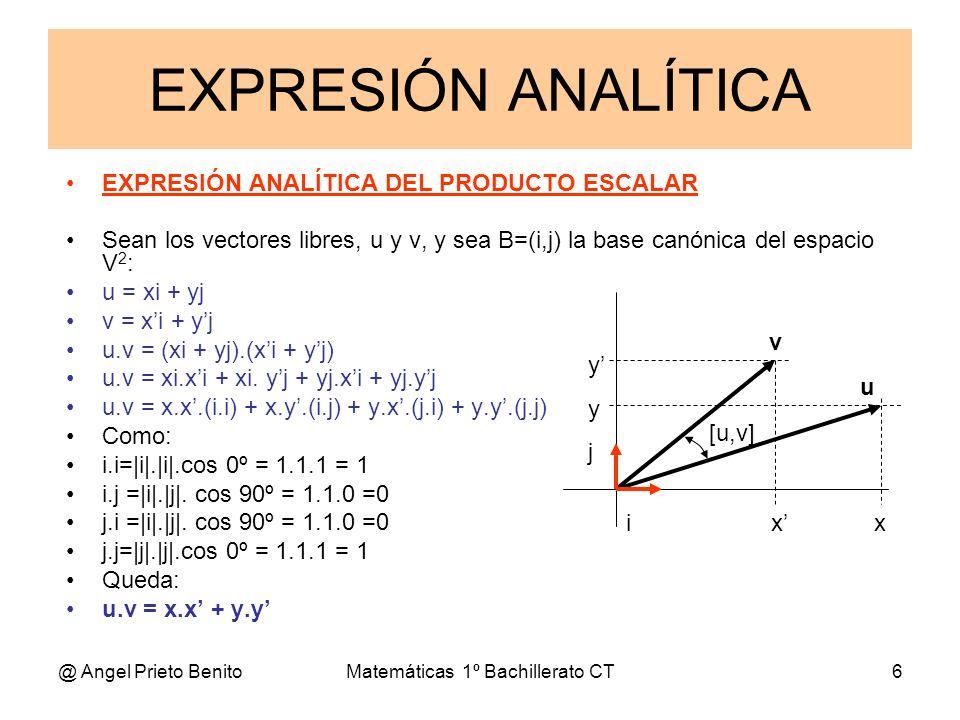 @ Angel Prieto BenitoMatemáticas 1º Bachillerato CT6 EXPRESIÓN ANALÍTICA DEL PRODUCTO ESCALAR Sean los vectores libres, u y v, y sea B=(i,j) la base c