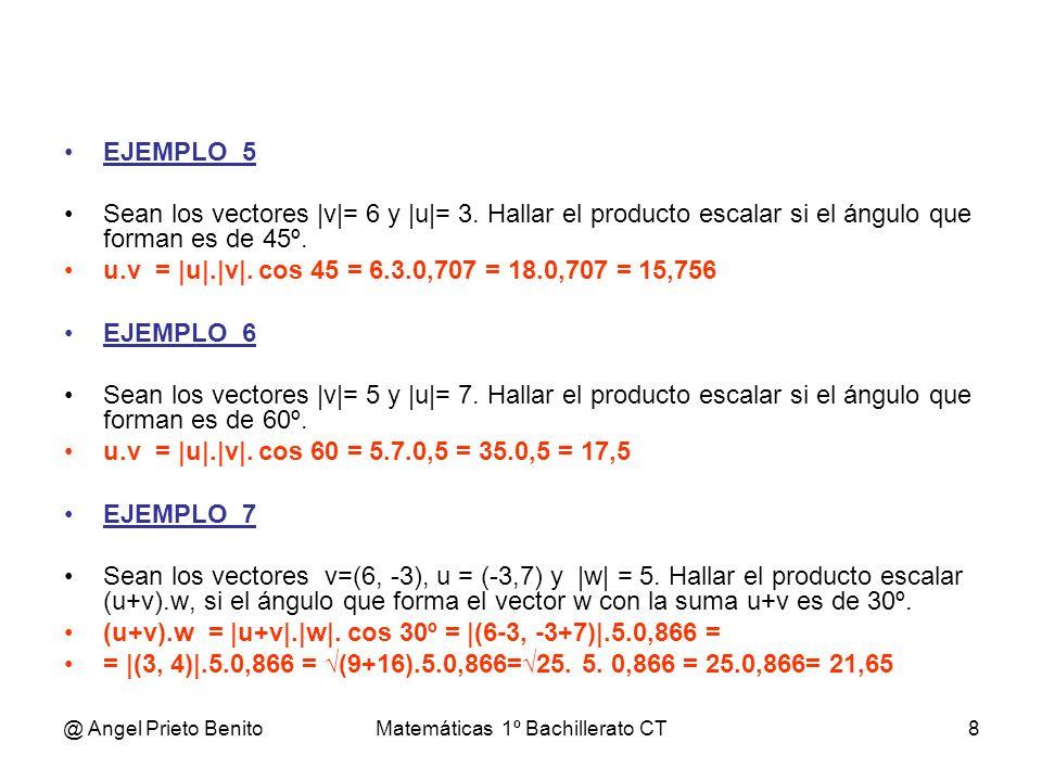 @ Angel Prieto BenitoMatemáticas 1º Bachillerato CT8 EJEMPLO_5 Sean los vectores |v|= 6 y |u|= 3. Hallar el producto escalar si el ángulo que forman e