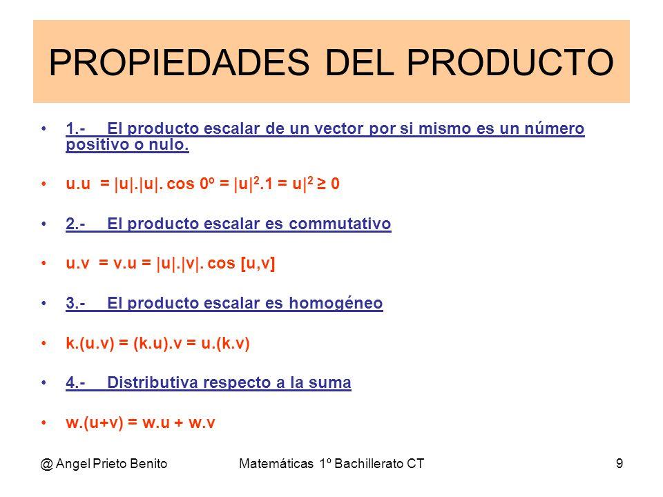 @ Angel Prieto BenitoMatemáticas 1º Bachillerato CT9 1.-El producto escalar de un vector por si mismo es un número positivo o nulo. u.u = |u|.|u|. cos