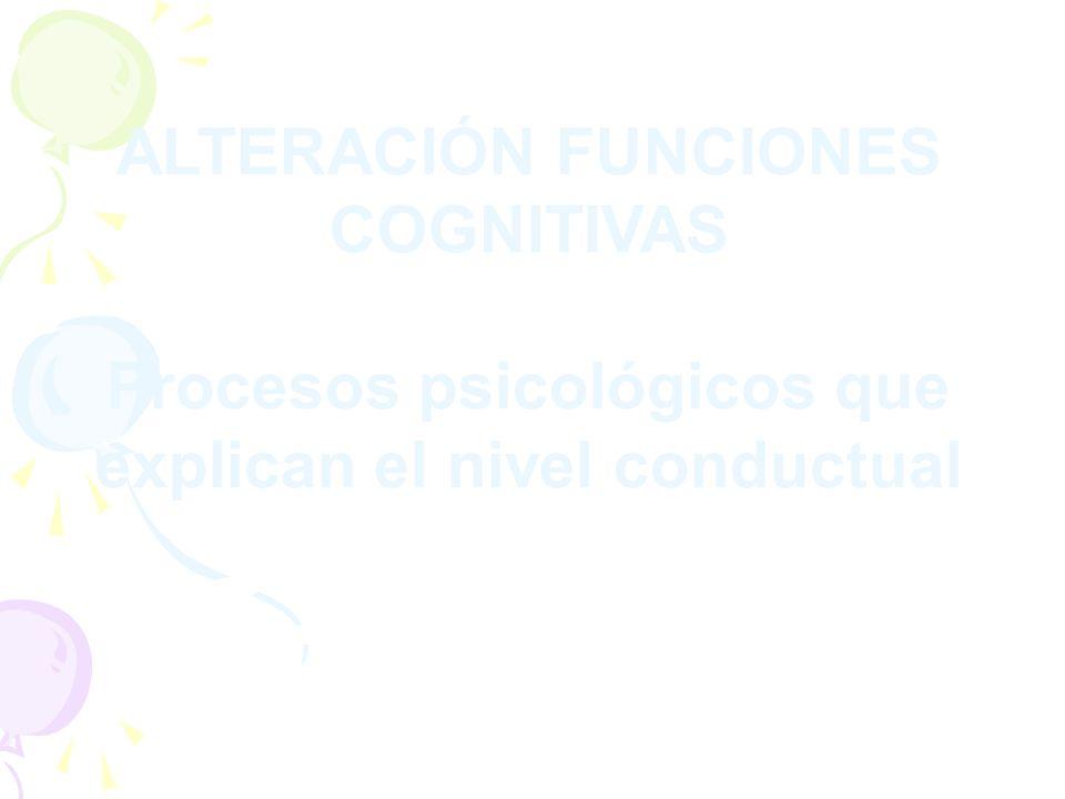 ALTERACIÓN FUNCIONES COGNITIVAS Procesos psicológicos que explican el nivel conductual