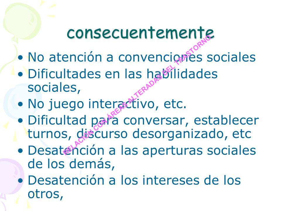 consecuentemente No atención a convenciones sociales Dificultades en las habilidades sociales, No juego interactivo, etc. Dificultad para conversar, e
