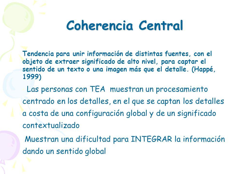 Coherencia Central Tendencia para unir información de distintas fuentes, con el objeto de extraer significado de alto nivel, para captar el sentido de