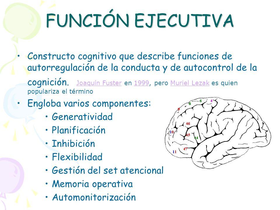 FUNCIÓN EJECUTIVA Constructo cognitivo que describe funciones de autorregulación de la conducta y de autocontrol de la cognición. Joaquín Fuster en 19