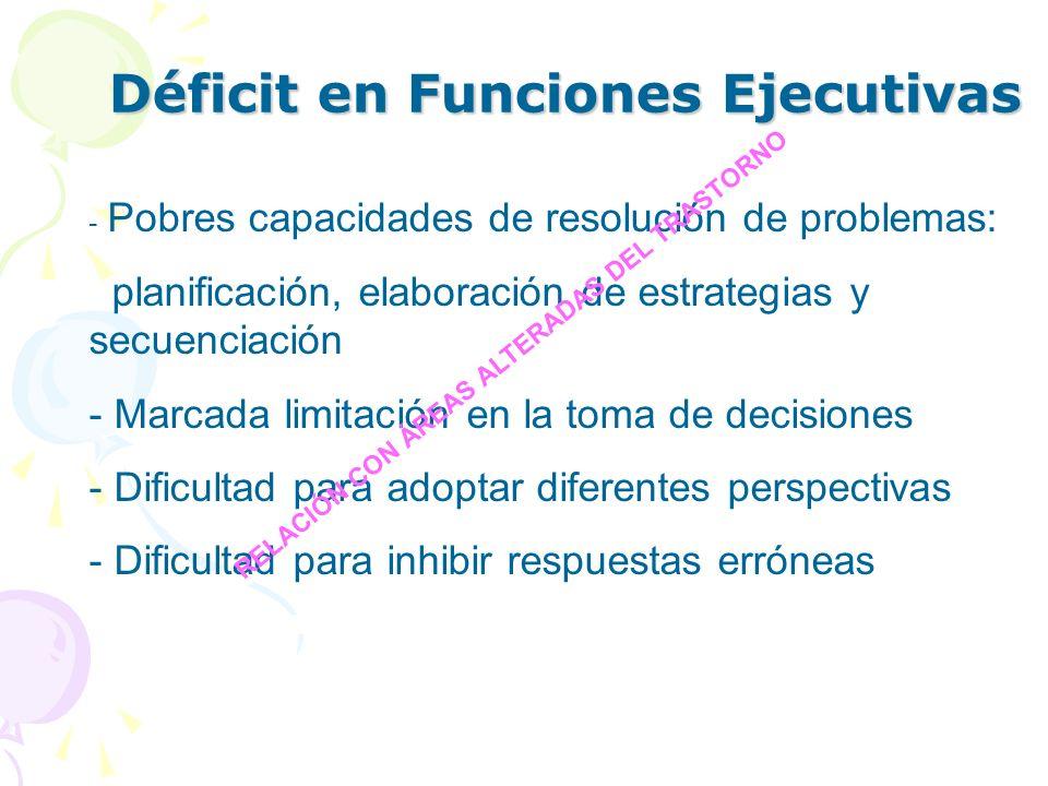 Déficit en Funciones Ejecutivas - Pobres capacidades de resolución de problemas: planificación, elaboración de estrategias y secuenciación - Marcada l