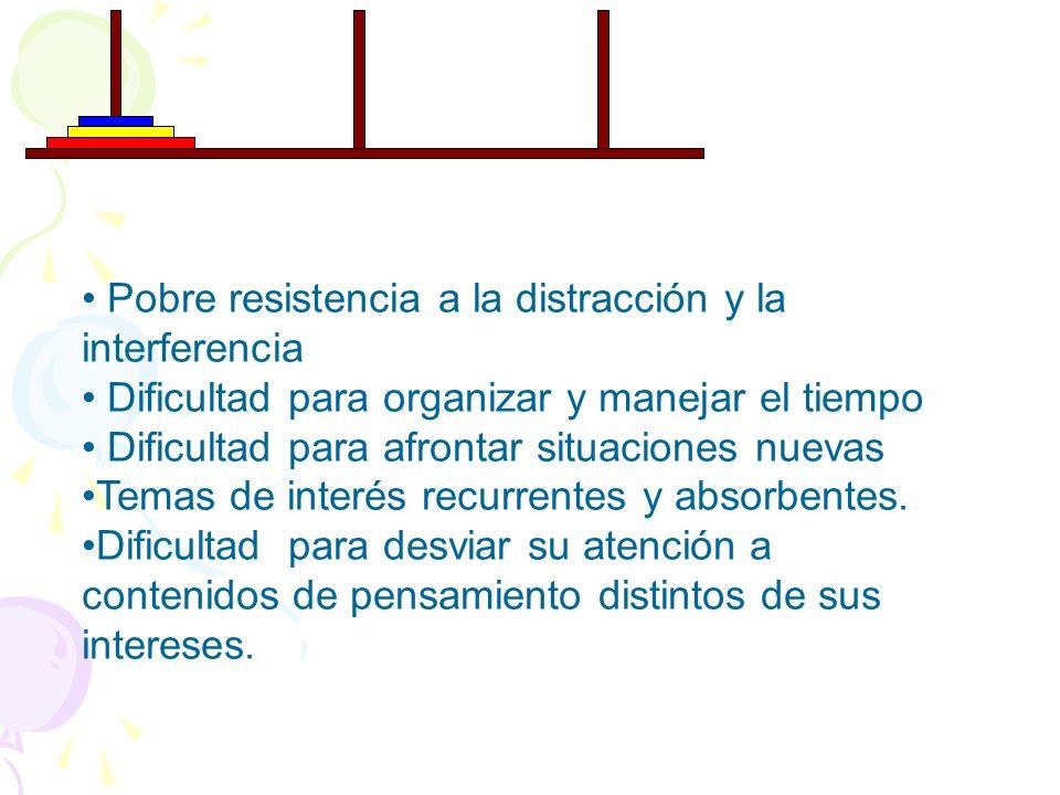 Pobre resistencia a la distracción y la interferencia Dificultad para organizar y manejar el tiempo Dificultad para afrontar situaciones nuevas Temas