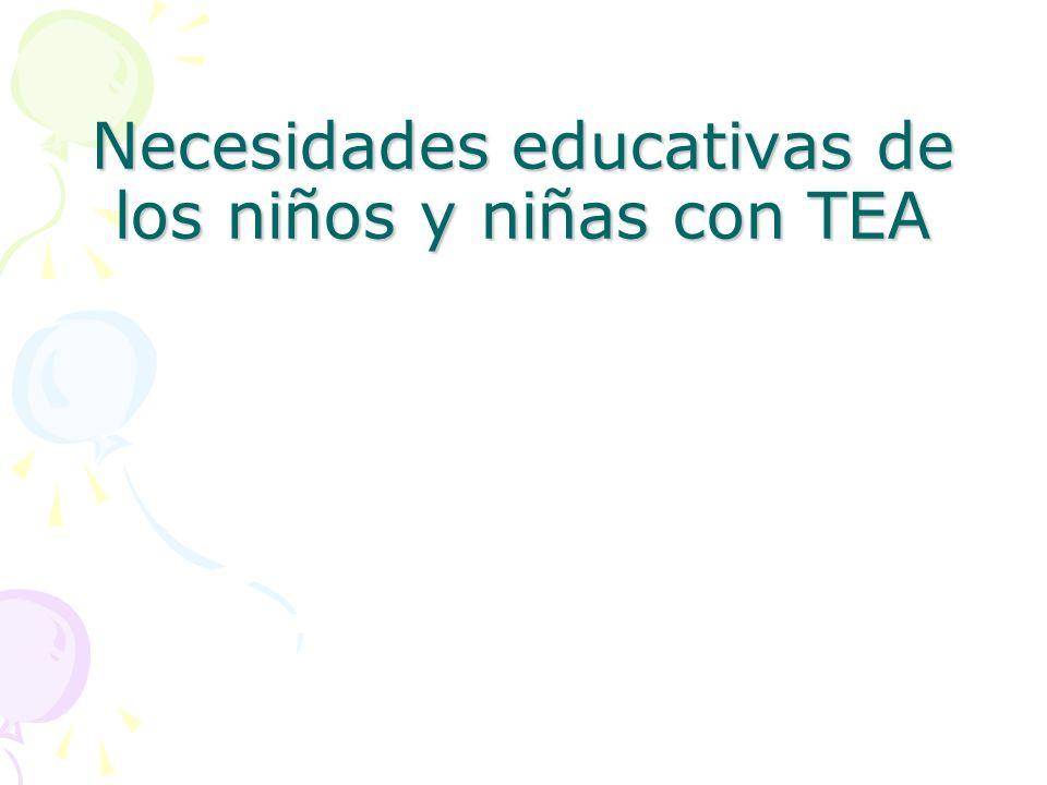 Necesidades educativas de los niños y niñas con TEA