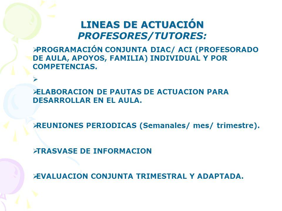LINEAS DE ACTUACIÓN LINEAS DE ACTUACIÓN PROFESORES/TUTORES: PROGRAMACIÓN CONJUNTA DIAC/ ACI (PROFESORADO DE AULA, APOYOS, FAMILIA) INDIVIDUAL Y POR CO