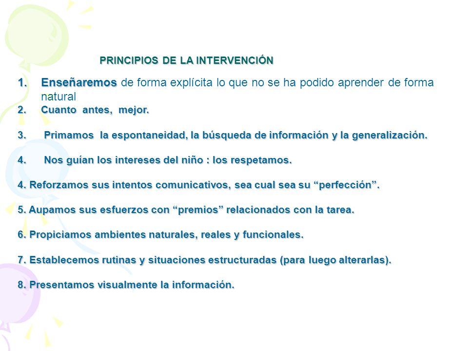 PRINCIPIOS DE LA INTERVENCIÓN PRINCIPIOS DE LA INTERVENCIÓN 1.Enseñaremos 1.Enseñaremos de forma explícita lo que no se ha podido aprender de forma na