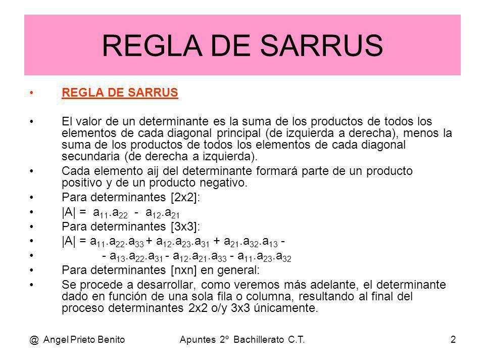 @ Angel Prieto BenitoApuntes 2º Bachillerato C.T.2 REGLA DE SARRUS REGLA DE SARRUS El valor de un determinante es la suma de los productos de todos lo