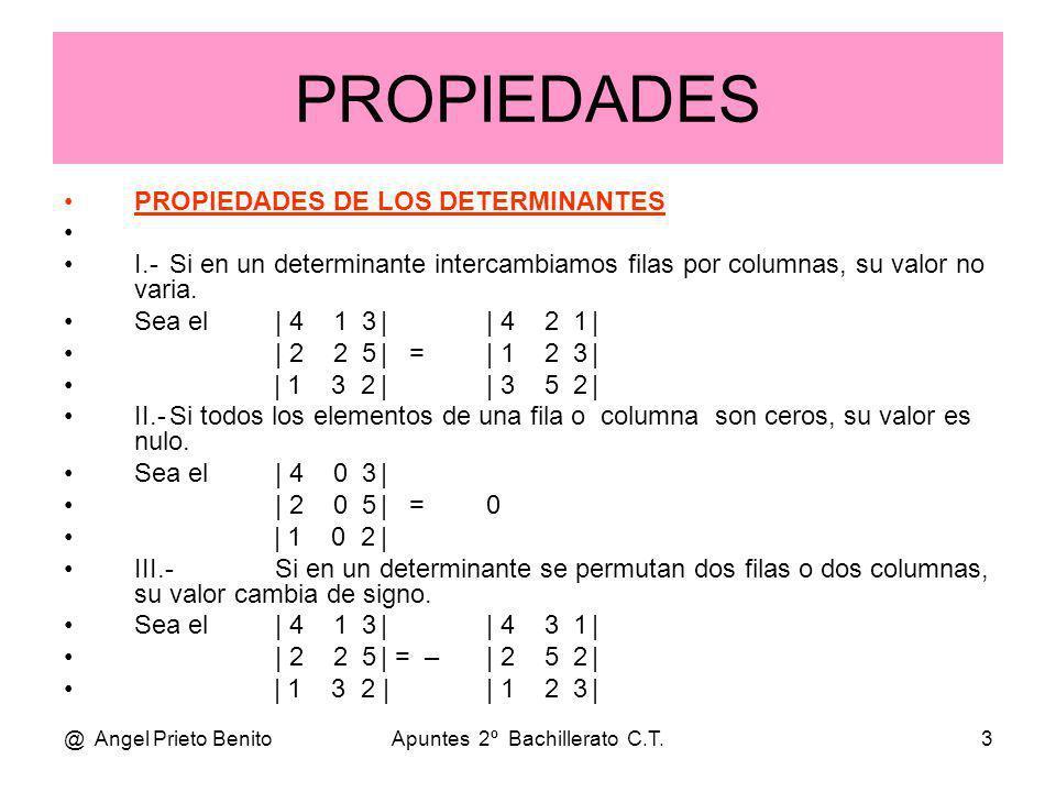 @ Angel Prieto BenitoApuntes 2º Bachillerato C.T.3 PROPIEDADES PROPIEDADES DE LOS DETERMINANTES I.-Si en un determinante intercambiamos filas por colu