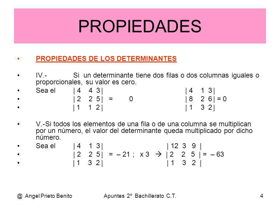 @ Angel Prieto BenitoApuntes 2º Bachillerato C.T.4 PROPIEDADES DE LOS DETERMINANTES IV.-Si un determinante tiene dos filas o dos columnas iguales o pr